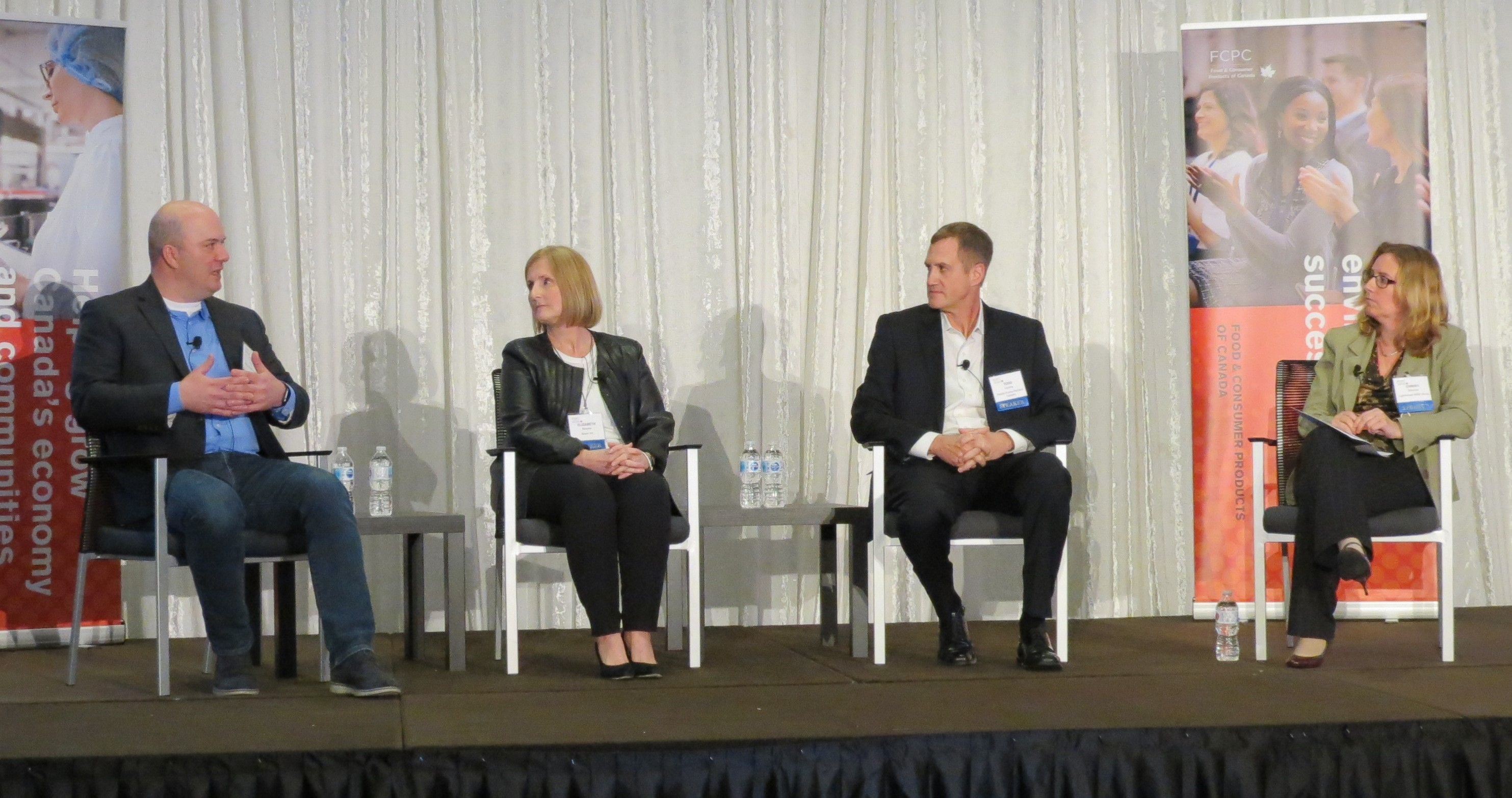 (Panel guests left to right: Todd Kelly, General Manager of KIND Healthy Snacks; Liz Beemer, SVP & Country Division Head of Consumer Health, Bayer Inc.; Todd Cooney, President of Nestlé Purina PetCare Canada; moderator Christi Scarrow, Lighthouse NINE Group.)